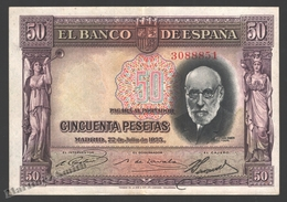 Banknote Spain -  50 Pesetas – July 1935 – Doctor Santiago Ramon Y Cajal - Condition VF - Pick 88 - [ 2] 1931-1936 : Republiek