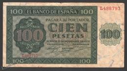 Banknote Spain -  100 Pesetas – November 1936 – Green Pattern And Burgos Cathedral Back - Condition FF - Pick 101a - 100 Pesetas