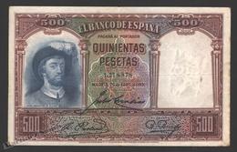 Banknote Spain -  500 Pesetas – April 1931 – Juan Sebastian El Cano, Navigator - Condition FF - Pick 84 - [ 2] 1931-1936 : Repubblica