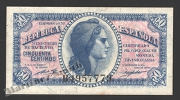 Banknote Spain -  50 Cents – Year 1937 – Women In Center, Spanish Republic - Condition VF - Pick 93 - 1-2 Pesetas
