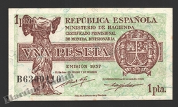 Banknote Spain -  1 Peseta – Year 1937 – Nike Of Samonthrace, Cibeles - Condition VF - Pick 94 - [ 2] 1931-1936 : República