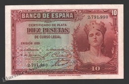 Banknote Spain -  10 Pesetas – Year 1935 – Women At Right - Condition VF - Pick 86a - [ 2] 1931-1936 : República