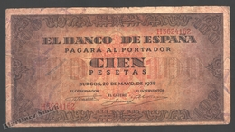 Banknote Spain -  100 Pesetas – May 1938 – Lilac, Brown Patterns, Back Cordon House - Condition G - Pick 113 - 100 Pesetas