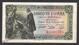 Banknote Spain -  5 Pesetas – June 1945 – Queen Isabel La Católica & Columbus - Condition XF - Pick 129a - 5 Pesetas