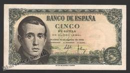 Banknote Spain -  5 Pesetas – August 1951 – Jaime Balmes - Condition VF - Pick 140a - [ 3] 1936-1975 : Régimen De Franco
