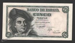 Banknote Spain -  5 Pesetas – March 1948 – Juan Sebastian De Elcano - Condition UNC - Pick 136a - [ 3] 1936-1975 : Régence De Franco