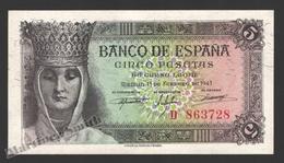 Banknote Spain -  5 Pesetas – February 1943 – Queen Isabel La Catolica - Condition VF - Pick 127 - [ 3] 1936-1975 : Régence De Franco