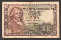 Banknote Spain -  100 Pesetas – May 1948 – Francisco Bayeu – Sin Serie – Condition G - Pick 137a - [ 3] 1936-1975 : Régimen De Franco