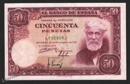 Banknote Spain -  50 Pesetas – December 1951 – Santiago Rusiñol, Paintor - Condition UNC - Pick 141a - 100 Pesetas