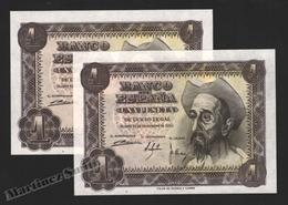 Banknote Spain -  1 Peseta – November 1951 – Don Quijote – Correlative Pair - Condition UNC - Pick 139a - 5 Pesetas