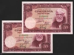 Banknote Spain -  50 Pesetas – December 1951 – Santiago Rusiñol, Paintor – Correlative Pair – Condition UNC - Pick 141a - [ 3] 1936-1975 : Régimen De Franco