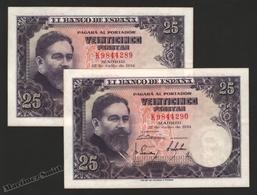 Banknote Spain -  25 Pesetas – July 1954 – Isaac Albeñiz, Music Composer - Condition VF – Correlative Pair - Pick 147a - 25 Pesetas