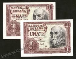 Banknote Spain -  1 Peseta – July 1953 – Marques De Santa Cruz - Condition VF – Correlative Pair - Pick 144a - [ 3] 1936-1975 : Régence De Franco