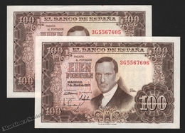 Banknote Spain -  100 Pesetas – April 1953 – Julio Romero De Torres – Correlative Pair – Condition VF – Pick 145a - [ 3] 1936-1975 : Regime Di Franco
