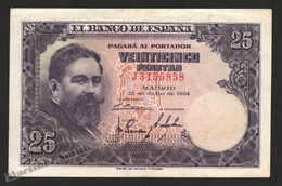 Banknote Spain -  25 Pesetas – July 1954 – Isaac Albeñiz, Music Composer - Condition FF - Pick 147a - 25 Pesetas