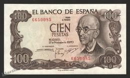 Banknote Spain -  100 Pesetas – Novmeber 1970 – Manuel De Falla, Music Composer - Condition UNC - Pick 152a - [ 3] 1936-1975 : Régence De Franco