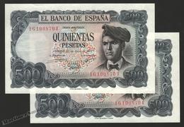 Banknote Spain -  500 Pesetas – July 1971 – Jacinto Verdaguer - Condition UNC – Correlative Pair - Pick 153a - [ 3] 1936-1975: Regime Van Franco