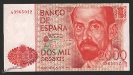 Banknote Spain -  2000 Pesetas – July 1980 – Juan Ramon Jimenez – Condition UNC - Pick 159 - [ 4] 1975-… : Juan Carlos I
