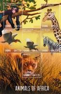 Ghana 2013 Animals Of Africa Giraffe Zebra Lion Monkey Minisheet MNH - Felini
