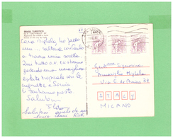 1982 BRASIL AIR MAIL POSTCARD WITH 3 STAMPS TO ITALY - Brésil