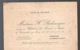 Bègles (33 Gironde) Carte D'invitation  Fête De Charité Au Château De Francs. (PPP17766) - Vieux Papiers