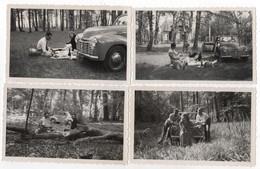 Photo Originale Lot De 4 Auto La SIMCA Cinq Ballade En Forêt Calvados Trouville Blonville - Automobiles