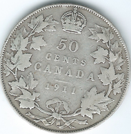 Canada - George V - 50 Cents - 1911 (KM19) Scarce Coin - Canada