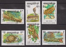 Faune - Reptiles - KAMPUCHEA - Crocodile, Iguane, Cobra, Tortue Trionyx, Caméléon, Boa - N° 400 à 405 - 1983 - Kampuchea