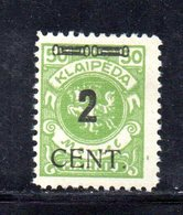 XP4475 - LITUANIA MEMEL KLAIPEDA 1923 , Unificato N. 171  Nuovo *  (2380A) . - Lituanie