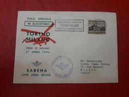 Italie Correspondance Pour Helicoptero Torino à Milano En 1954 - 6. 1946-.. República