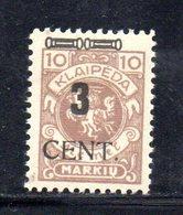 XP4476 - LITUANIA MEMEL KLAIPEDA 1923 , Unificato N. 172  Nuovo *  (2380A) . - Lituanie