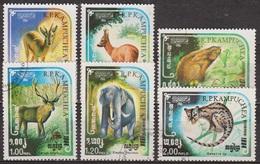 Faune - Animaux Sauvages - KAMPUCHEA - Gazelle, Chevreuil, Lapin, Cerf, Eléphant, Genette - N° 505 à 510 - 1984 - Kampuchea