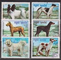 Faune - Chiens De Race - KAMPUCHEA - Levrier, Danois, Malamute - N° 719 à 724 - 1987 - Kampuchea