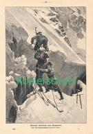 164 Ernst Platz Alpinisten überwinden Bergschrund  Ca. 21 X 28 Cm 1900 !! - Drucke