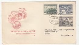 "Czechoslovakia, ""Driving Across The World"" (impact Of Czechoslovak Moto Industry) FDC Travelled 1955 B190320 - Motos"