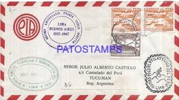 109171 PERU LIMA COVER DECIMO ANIVERSARIO 1º VUELO YEAR 1947 CIRCULATED TO ARGENTINA NO POSTAL POSTCARD - Pérou
