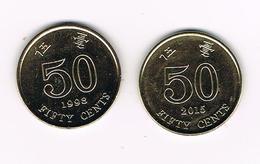 /  HONG KONG  2 X 50  CENTS 1998/2015 - Hongkong