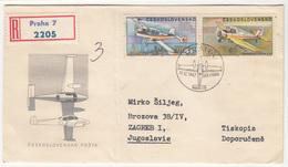 Czechoslovakia, Sport Aviation FDC Registered Travelled 1967 Praha To Sisak B190320 - Airplanes