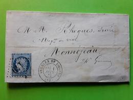 Lettre ARGELES DE BIGORRE Hautes Pyrénées,GC 149 S CERES 60 VARIETE ANNEAU LUNE,1 Juin 1873 > MONTREJEAU Haute Garonne - Poststempel (Briefe)