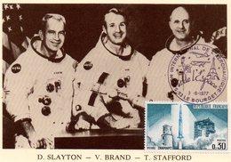Carte 1er Jour  Apollo    (15-7--1975)-  Donald K. Slayton Vince D. Brand Thomas P. Stafford. - Espace