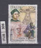 ITALIA REPUBBLICA   1992Celebrazioni Colombiane L. 3200 Usato - 1991-00: Usati