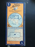 CARTE ROUTIERE MICHELIN N° 1 . ANTWERPEN - ROTTERDAM . CARTE DES ANNEES 1945 / 1950 . ( REVISEE EN 1939 ) .BON ETAT . - Cartes Routières