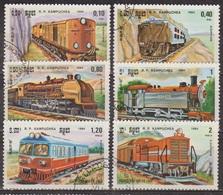 Transports - Chemins De Fer - KAMPUCHEA - Locomotives - France, Allemagne - N° 463 à 468 - 1984 - Kampuchea