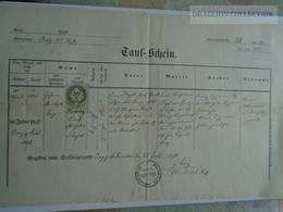 ZA185.14  Old Document Czechia - PRAG Prague PRAHA 1870 - Franz HAJEK - Naissance & Baptême