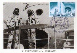 Carte 1er Jour  Soyouz 22    (15-9--1976)-  Valery F. Bykovsky Vladimir V.askenov. - Espace