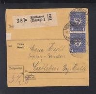 Dt. Reich Paketkarte 1922 Mühlhausen - Deutschland