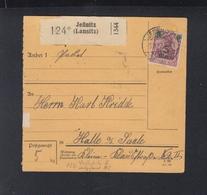 Dt. Reich Paketkarte 1922 Jessnitz Nach Halle - Deutschland