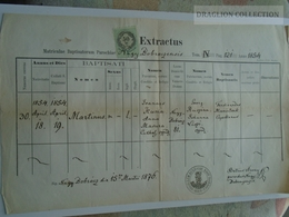 ZA185.17  Old Document Slovakia Bobrovec  Nagy - Bobrócz  - Zilina - 1876 Martinus KUNA  (Anna MASURA)  - Petrus Árvay - Naissance & Baptême