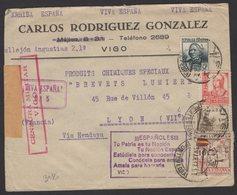 """GUERRE D'ESPAGNE (Spanish War) Enveloppe Affrt Mixte à 3 Timbres + Vignette """"POR LA PATRIA"""" Oblt VIGO +Sensure > LYON - 1931-Aujourd'hui: II. République - ....Juan Carlos I"""