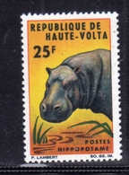 ALTO VOLTA HAUTE VOLTA UPPER VOLTA BURKINA FASO 1966 FAUNA ANIMALS ANIMAUS ANIMALI HIPPO IPPOPOTAMO 25fr MNH - Alto Volta (1958-1984)